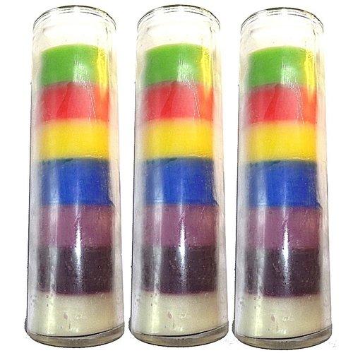 Sieben Farben Glaskerze