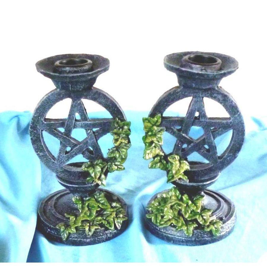 Kerzenständer Pentagramm mit Efeu-2