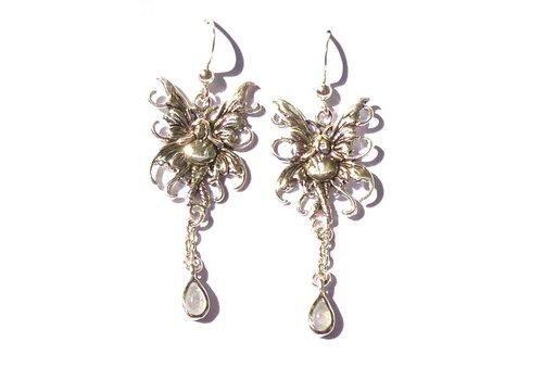 Ohrringe Elfe mit Mondstein, 925-Silber