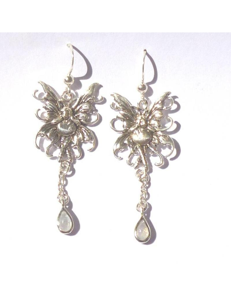 Elfen Ohrhänger Elfe mit Mondstein, 925-Silber