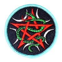 thumb-Aufnäher (Patch) mit Pentagramm und Schlange-1