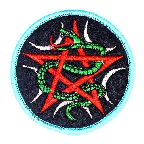 Aufnäher mit Pentagramm und Schlange