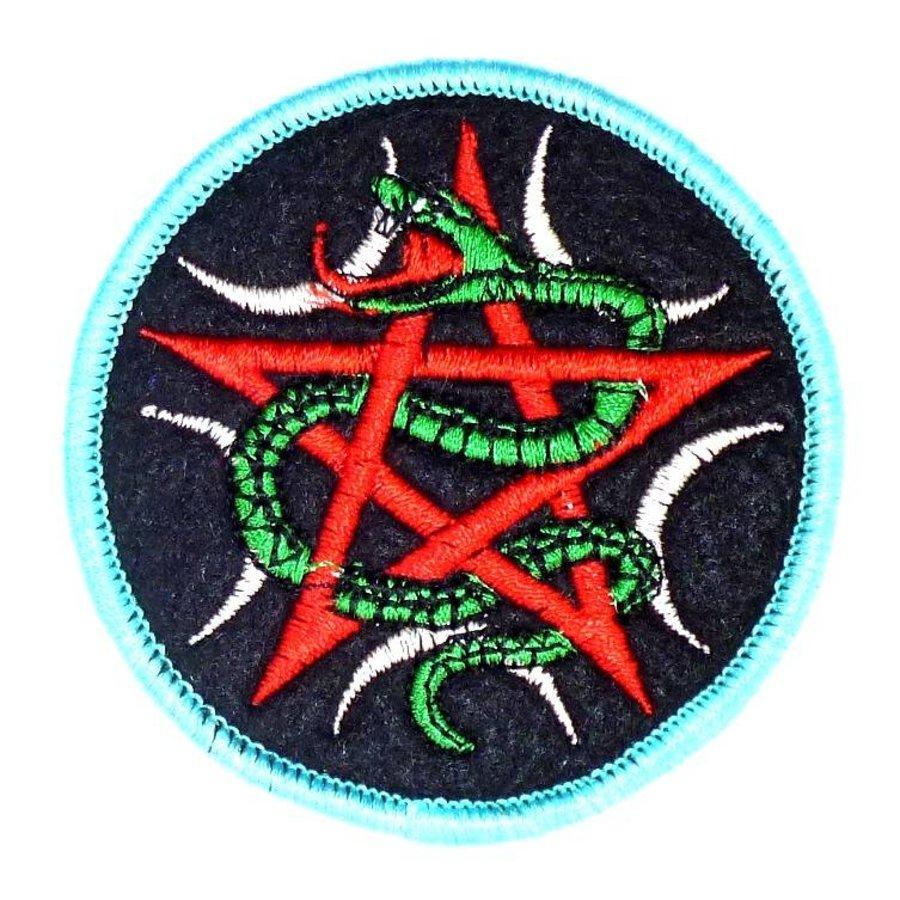 Aufnäher (Patch) mit Pentagramm und Schlange-1