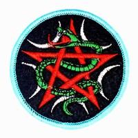 thumb-Aufnäher (Patch) mit Pentagramm und Schlange-2