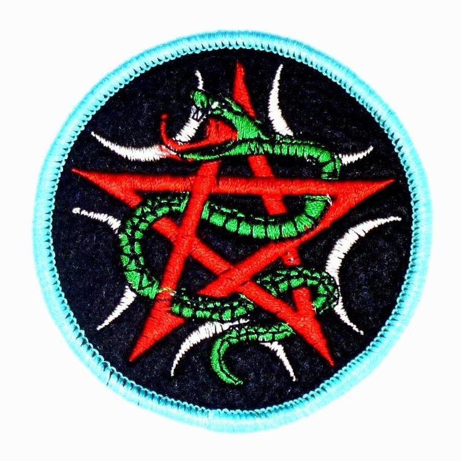 Aufnäher (Patch) mit Pentagramm und Schlange-2