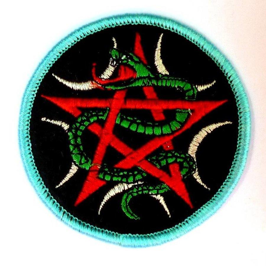 Aufnäher (Patch) mit Pentagramm und Schlange-3