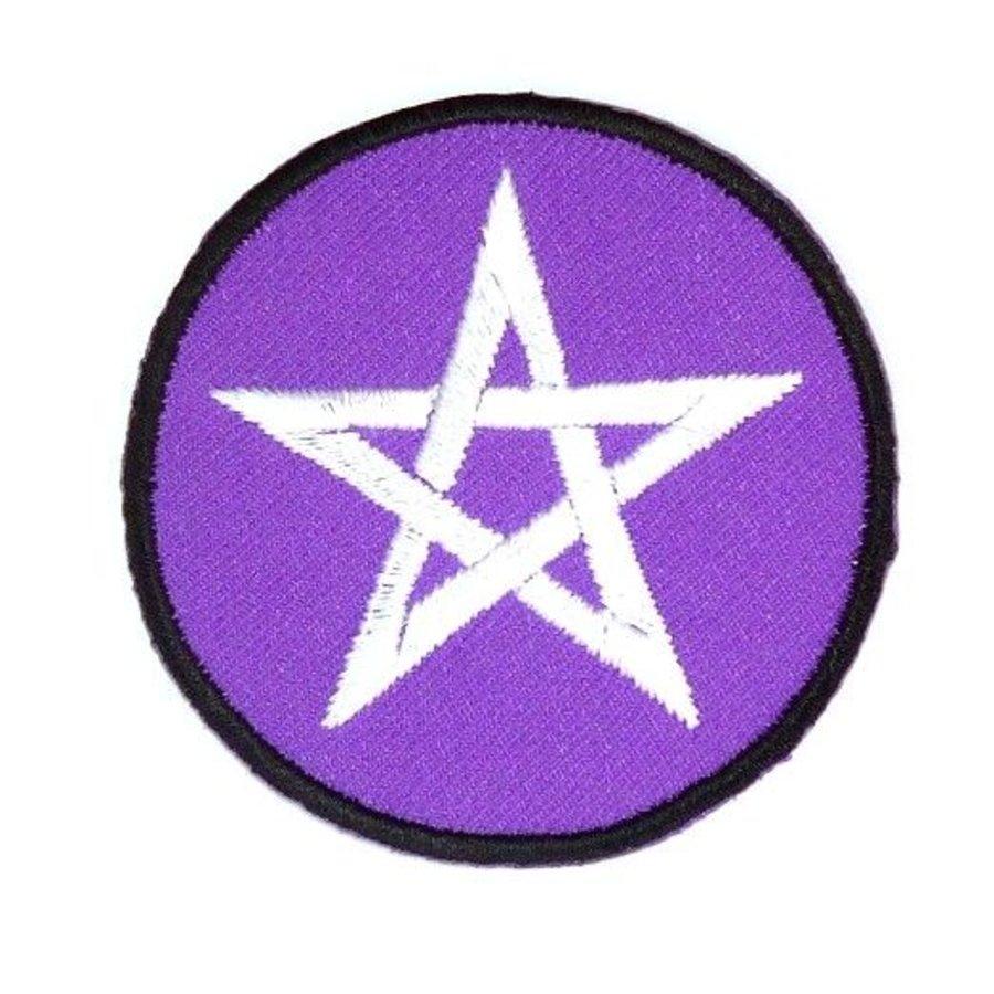 Aufnäher (Patch) mit Pentagramm violett/weiß-1