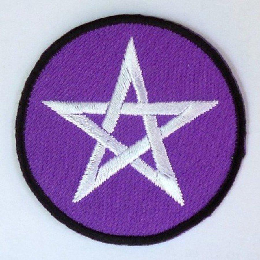 Aufnäher (Patch) mit Pentagramm violett/weiß-2