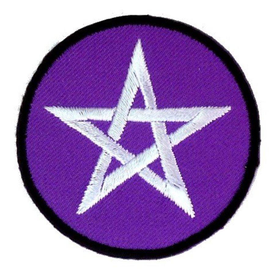 Aufnäher (Patch) mit Pentagramm violett/weiß-3