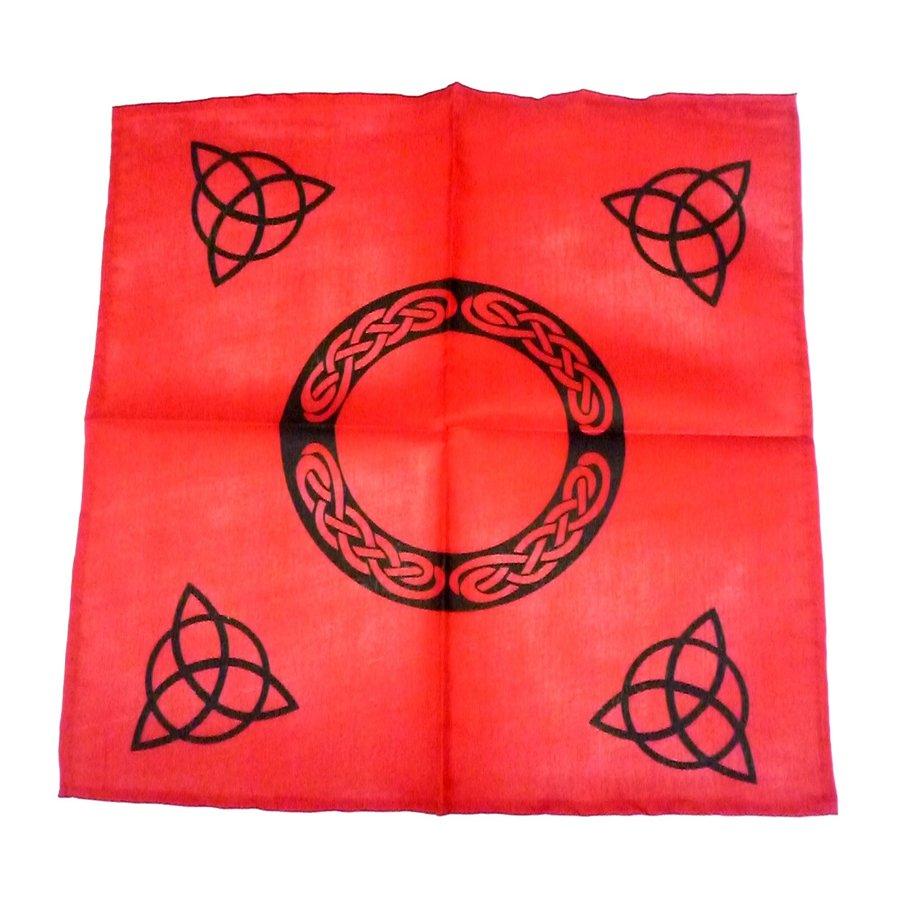 Altartuch mit Triquetta und keltischen Mustern (in Weiß, Rot, Blau, Gelb, Grün und Violett mit schwarzer Triquetta oder schwarzes Tuch mit goldener Triquetta)-1