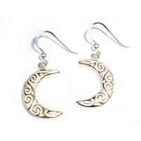 thumb-Ohrringe Halbmond aus Silber vergoldet-2