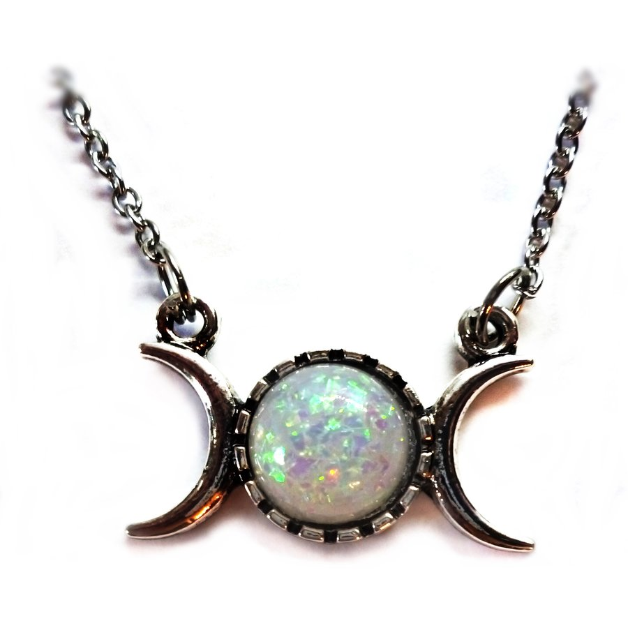 Wicca Halskette Triple Moon mit Kunststein-1