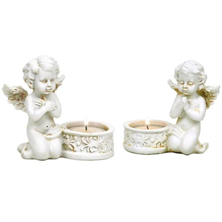 Zwei Engelchen mit Teelichthalter-1
