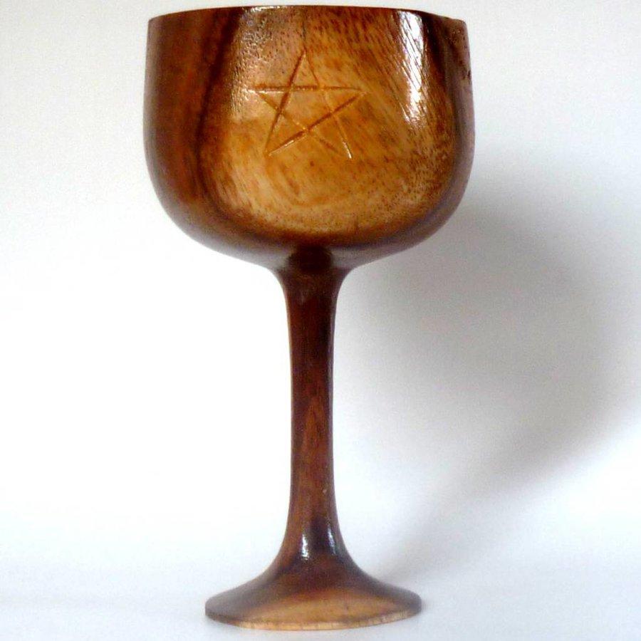 Holzkelch mit Pentagramm-1