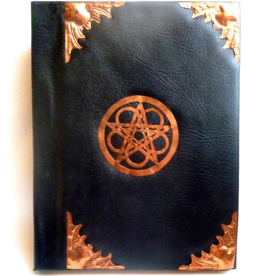 Buch der Schatten mit Fledermausflügelecken und Rosenpentagramm-1