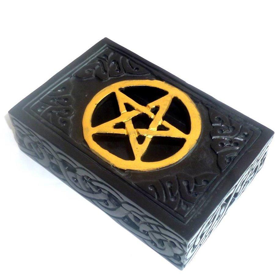 Speckstein Dose mit Pentagramm-3