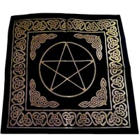 thumb-Altartuch Pentagramm, groß mit Celtic Rahmen und Pentakel-2