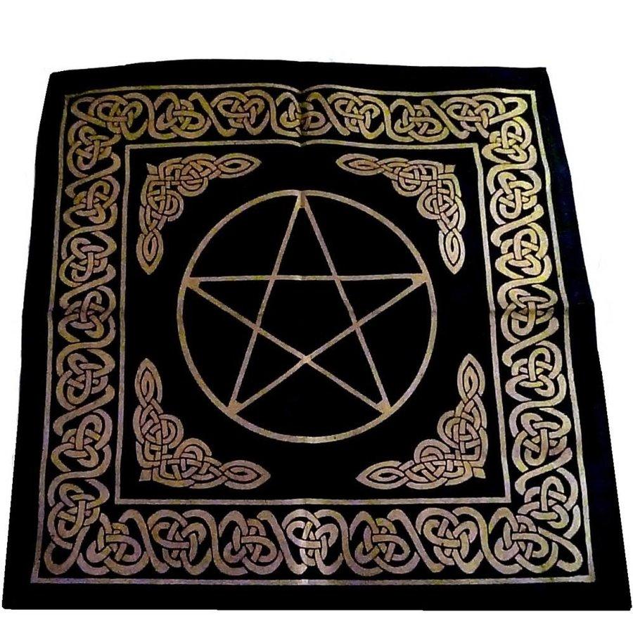 Altartuch Pentagramm, groß mit Celtic Rahmen und Pentakel-2