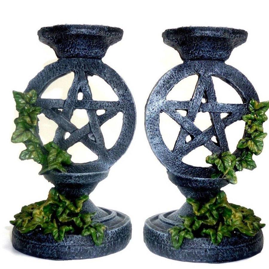 Kerzenständer Pentagramm mit Efeu-1