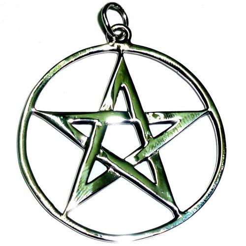 Pentagramm Anhänger Amulett Silber, 36 mm