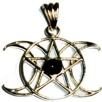 thumb-Anhänger Pentagramm Dreifacher Mond mit Stein-1