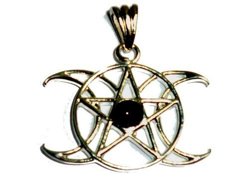 Pentagramm Anhänger Dreifacher Mond, Zinn