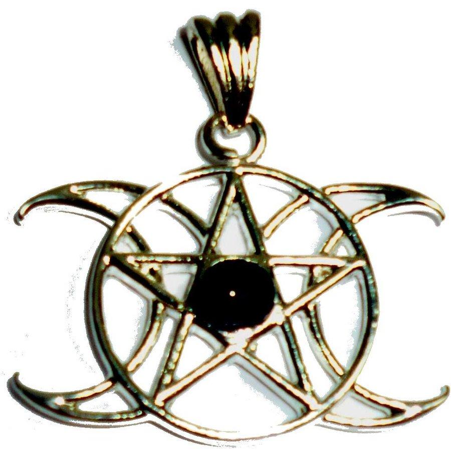 Anhänger Pentagramm Dreifacher Mond mit Stein-1