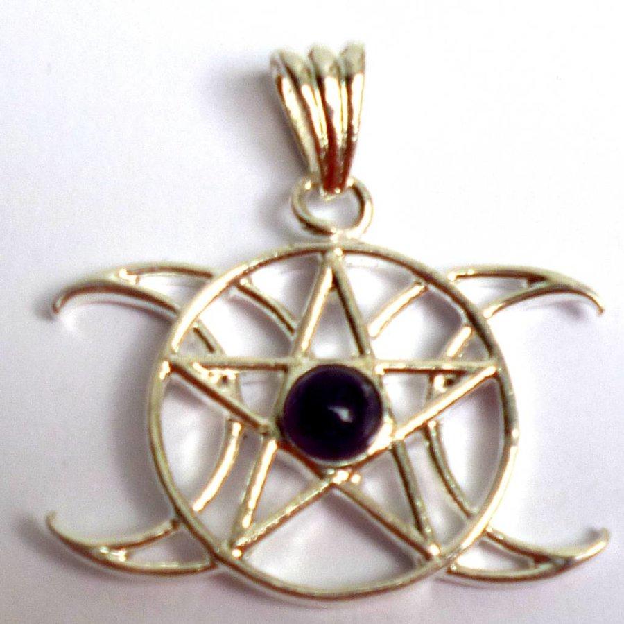 Anhänger Pentagramm Dreifacher Mond mit Stein-2