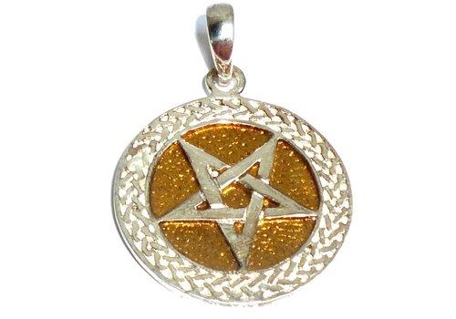 Anhänger Pentagramm Bronze, versilbert