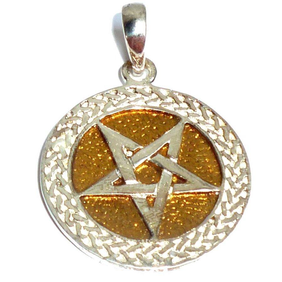 Pentagramm Anhänger aus Bronze, versilbert-1