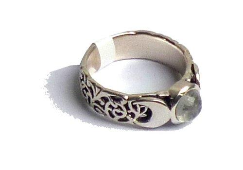 Mondstein Ring Silber Dreifacher Mond ab