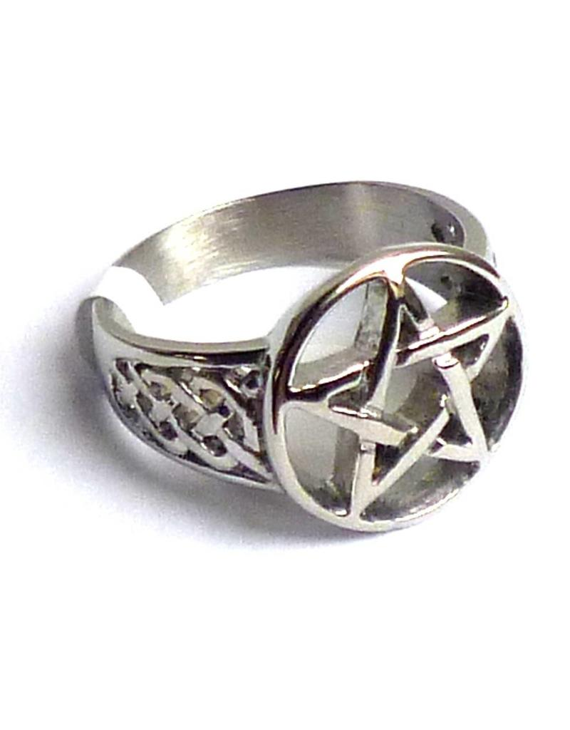 Pentagramme Ring mit Pentagramm und keltischen Mustern an den Seiten