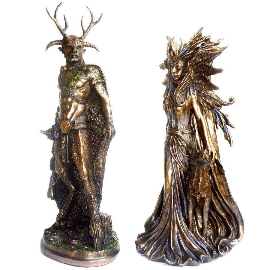 Hexengöttin aus Polyresin, bronziert-6
