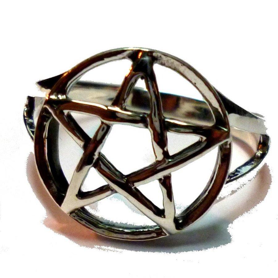 Pentagramm Ring 925-Silber-2
