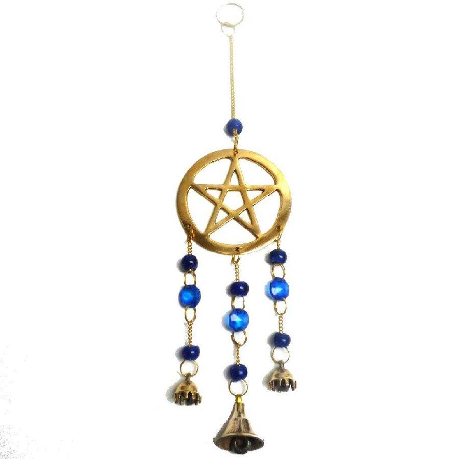 Windspiel Pentagramm aus Messing-1