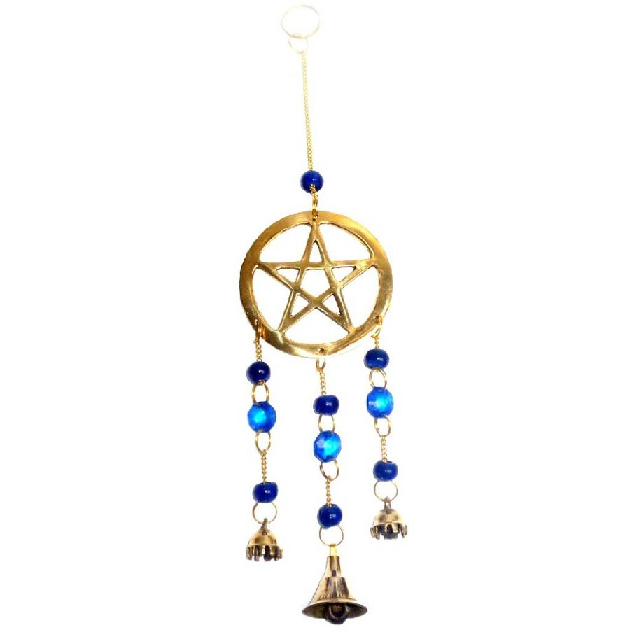 Windspiel Pentagramm aus Messing-2