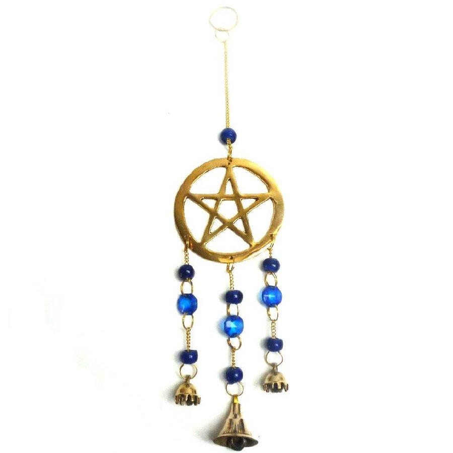 Windspiel Pentagramm aus Messing-3
