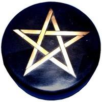 thumb-Altarkästchen, Speckstein Dose rund, schwarz mit Pentagramm-4