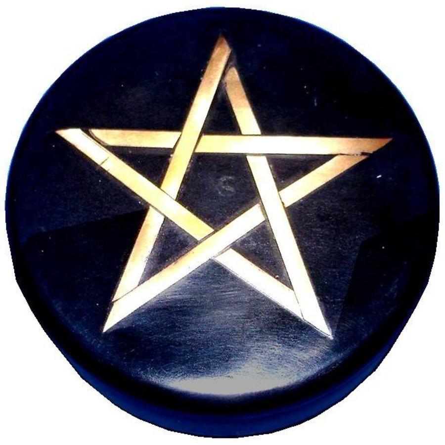 Altarkästchen, Speckstein Dose rund, schwarz mit Pentagramm-4
