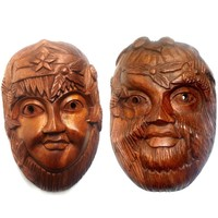 thumb-Green Lady & Green Man Holzmaske-2