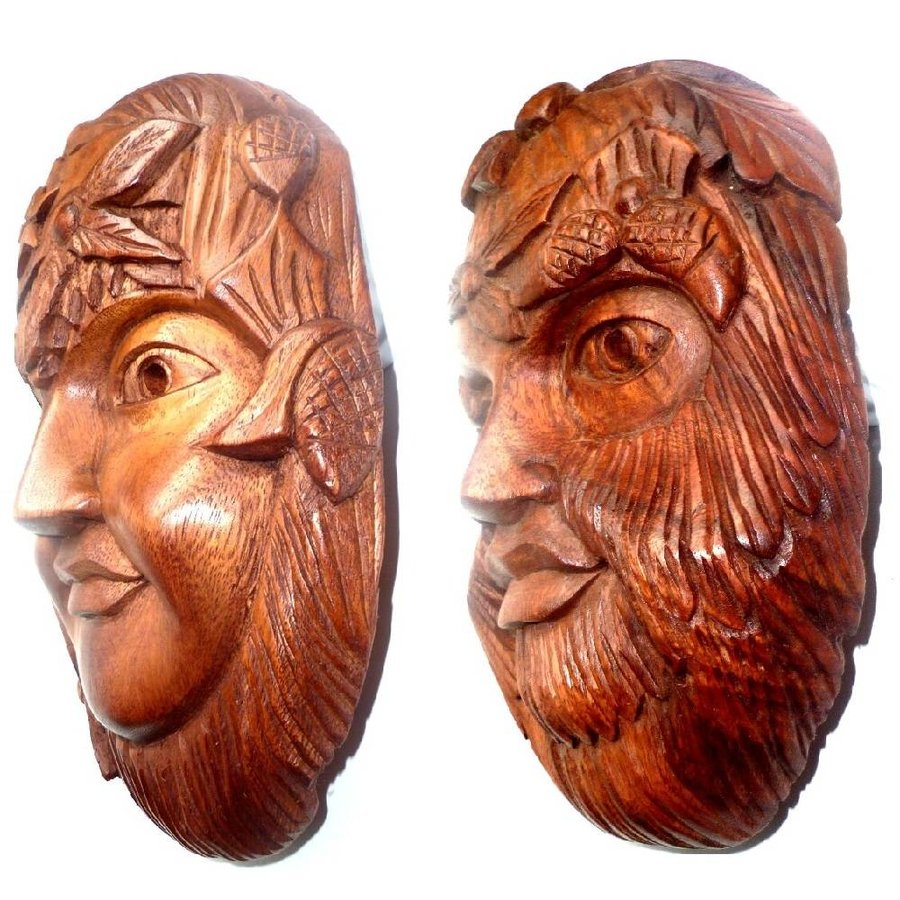 Green Lady & Green Man Holzmaske-5