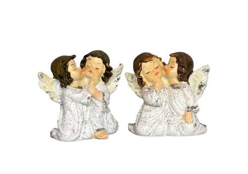 2 Engelpaare kniend flüsternd