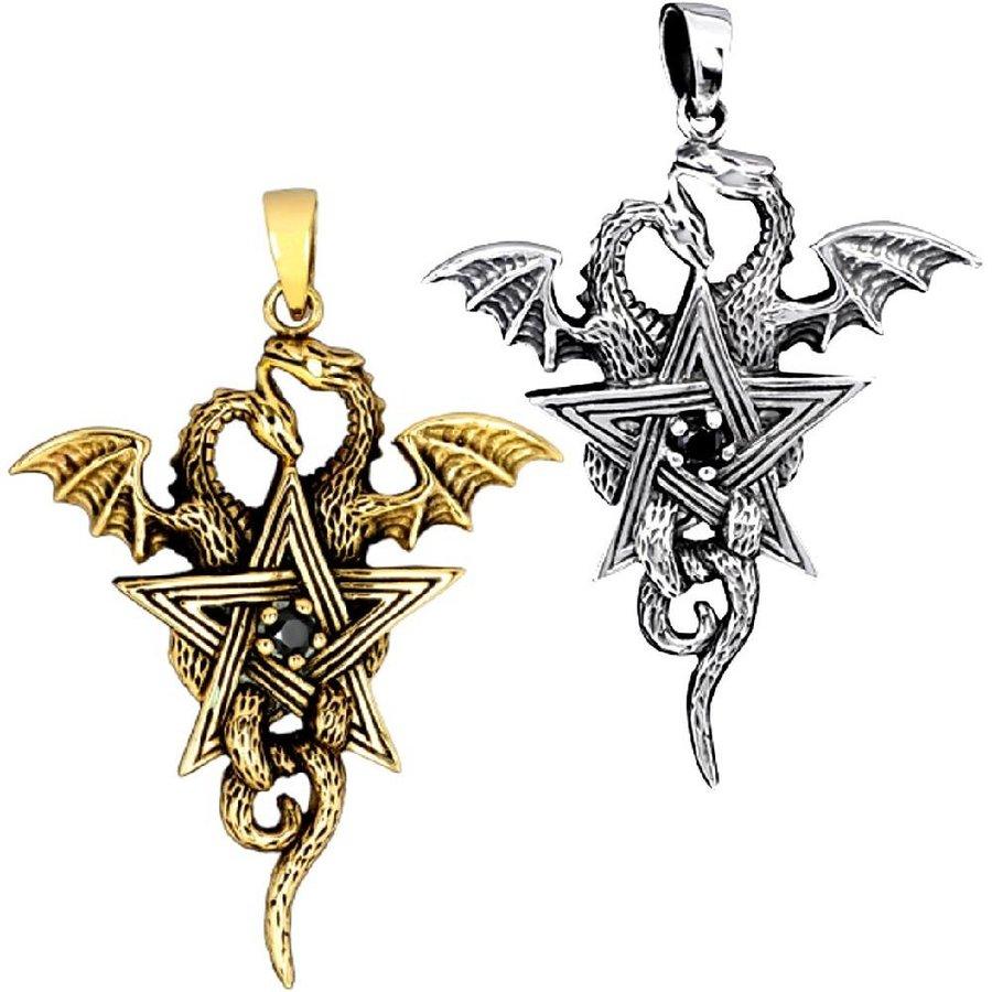 Pentagramm mit Drachen Anhänger-2
