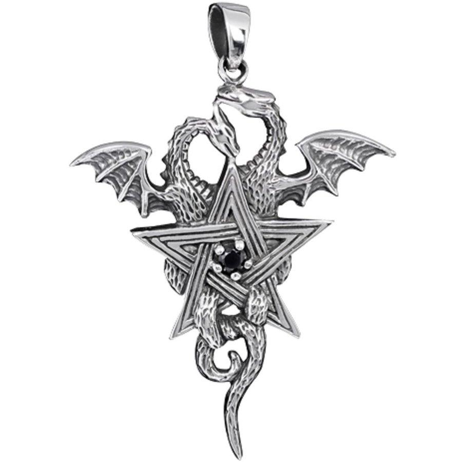 Pentagramm mit Drachen Anhänger-3