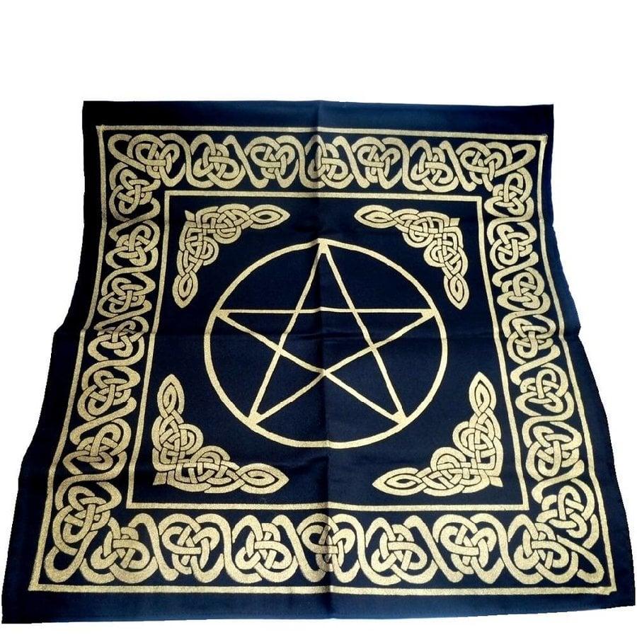 Altartuch Pentagramm, groß mit Celtic Rahmen und Pentakel-1