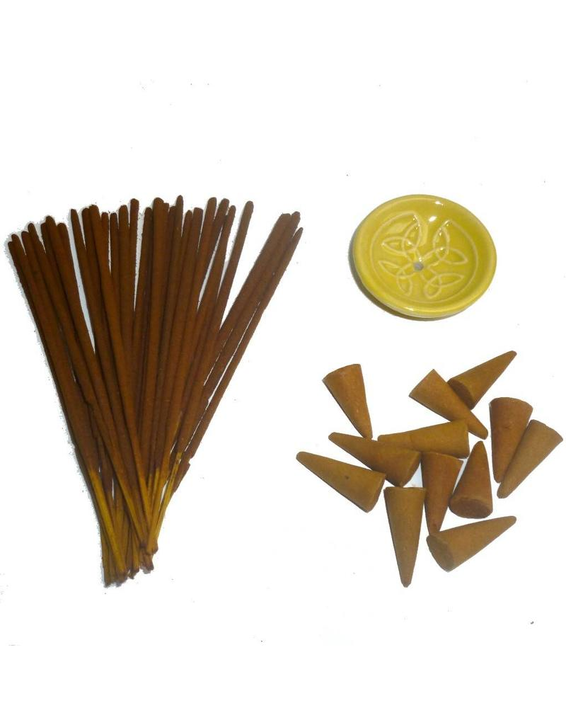 Holzkästchen mit Räucherstäbchen, Kegel und Halter