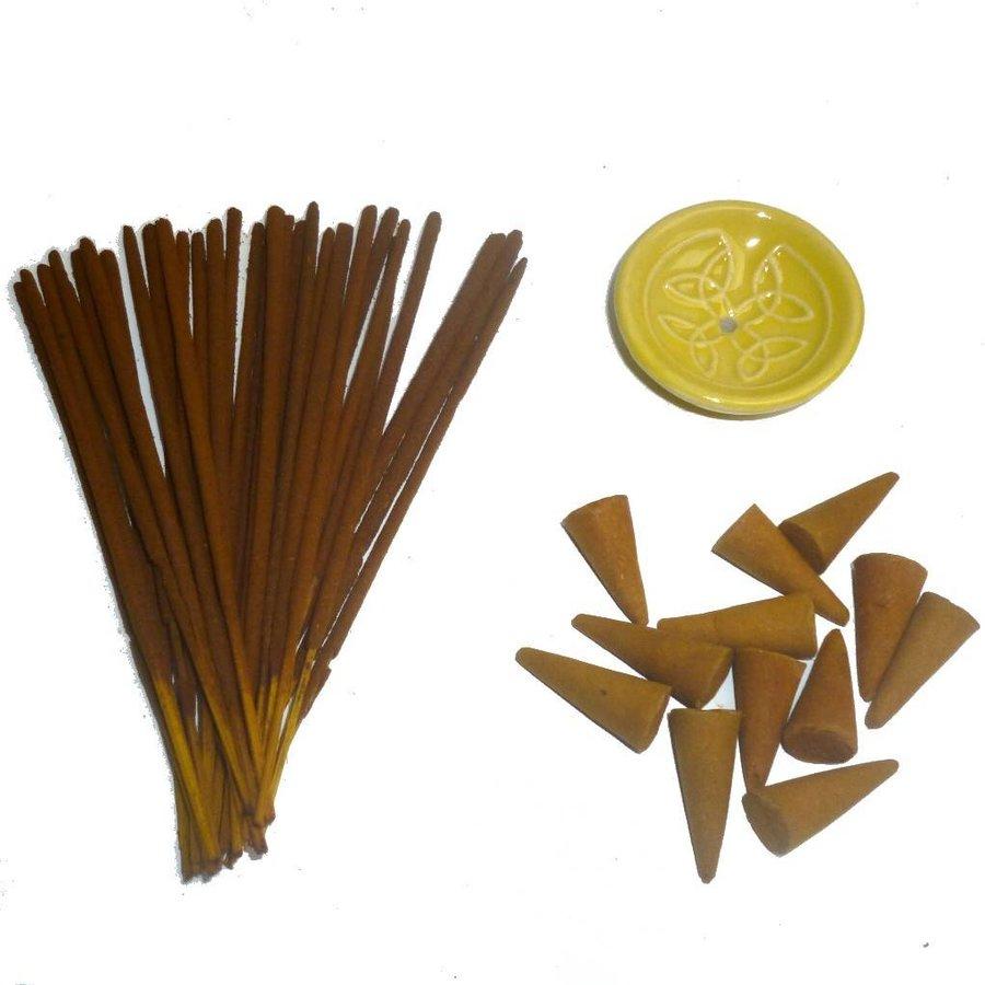 Holzkästchen mit Räucherstäbchen, Kegel und Halter-1