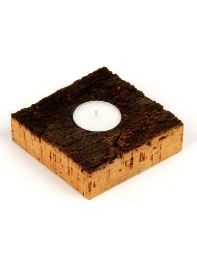 Huismerk Waxinelichthouder kurkhout 1 lichtje