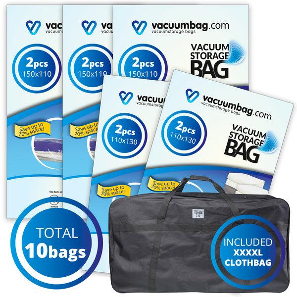 Vacuumbag.com Tuinkussen Vacuumzakken Pakket met opbergtas [Set 10 Zakken+tas]