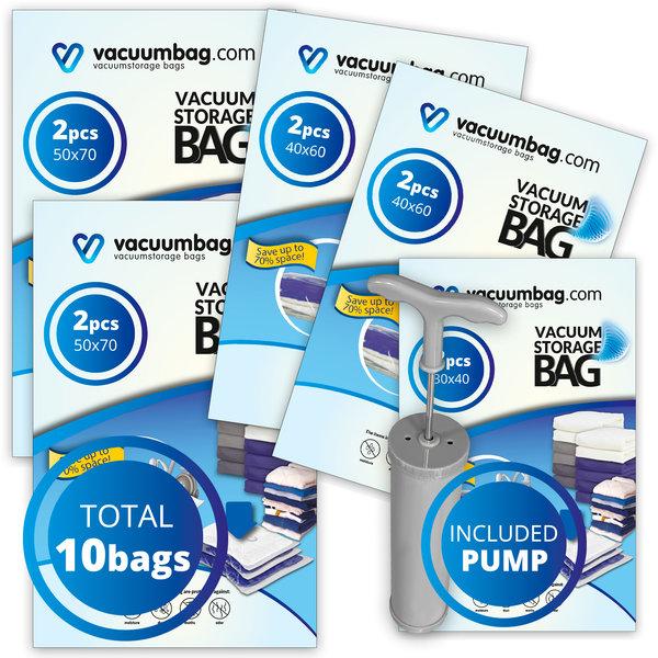 Vacuumbag.com Vacuumzakken Pakket Motorrijder [Set 10 zakken+pomp]